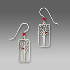 Sienna Sky Earrings - Red Cardinal Bird in a Tree - product images 1 of 5