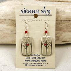 Sienna Sky Earrings - Red Cardinal Bird in a Tree - product images 2 of 5