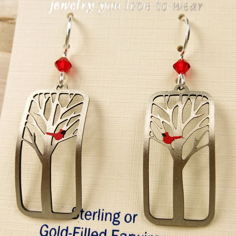 Sienna Sky Earrings - Red Cardinal Bird in a Tree - product image