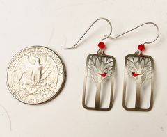 Sienna Sky Earrings - Red Cardinal Bird in a Tree - product images 5 of 5