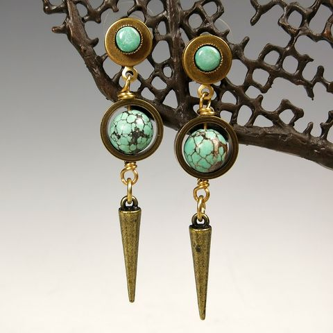 Jan,Michaels,Turquoise,Laser,Earrings,Jan Michaels, Jan Michaels Jewelry, Jan Michaels earrings, Jan Michaels Turquoise Laser Earrings