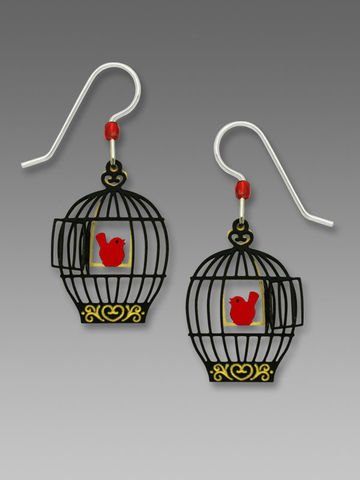 Sienna,Sky,Earrings,-,Open,Bird,Cage,with,Red,on,Swing,Sienna Sky Earrings, Adajio earrings Sienna Sky, Sienna Sky Colorado