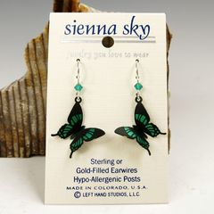 Sienna Sky Earrings - Green Malachite Butterfly - product images 2 of 4