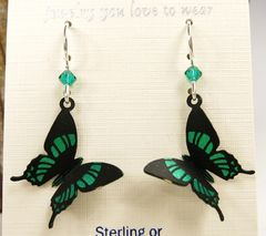 Sienna Sky Earrings - Green Malachite Butterfly - product images 3 of 4