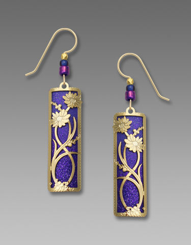 Adajio,Earrings,-,Deep,Purple,Ombre,Column,with,Shiny,Gold,'Daisies',Overlay,Adajio Earrings, Adajio earrings Sienna Sky, Adajio Jewelry, Adajio Colorado