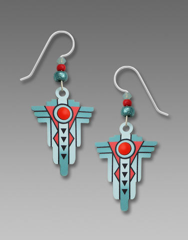 Adajio,Earrings,-,Southwestern,Style,Teal,and,Coral,Drop,Adajio Earrings, Adajio earrings Sienna Sky, Etched Brass Earrings, Artisan Handmade
