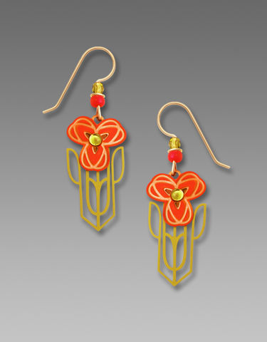 Adajio,Earrings,-,Orange,Nouveau,Poppy,with,Olive,Bead,Adajio Earrings, Adajio earrings Sienna Sky, Etched Brass Earrings, Artisan Handmade