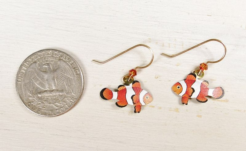 Sienna Sky Earrings - Orange and White Clown Fish - product image