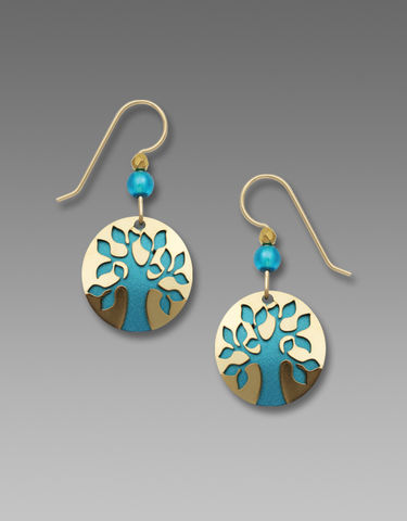 Sienna,Sky,Earrings,-,Gold,Plated,Tree,on,Teal,Disc,Sienna Sky Earrings, Adajio earrings Sienna Sky, Etched Brass Earrings, Tree earrings