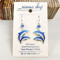 Sienna Sky Earrings - Blue and White Dolphins - product images 2 of 4