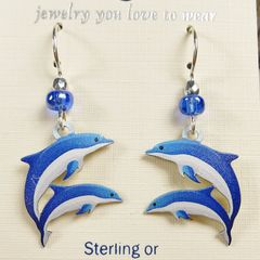 Sienna Sky Earrings - Blue and White Dolphins - product images 3 of 4