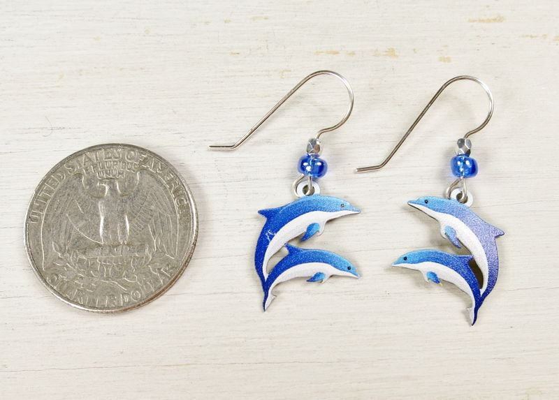 Sienna Sky Earrings - Blue and White Dolphins - product image
