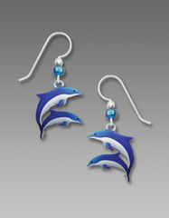 Sienna Sky Earrings - Blue and White Dolphins - product images 1 of 4