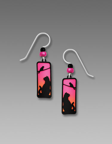 Sienna,Sky,Earrings,-,Cat,and,Bird,on,Tree,Silhouette,in,Sunset,Sienna Sky Earrings, Sienna Sky cat Earrings, Sienna Sky Cat and Tree Silhouette in Sunset Earrings, Sienna Sky 1977