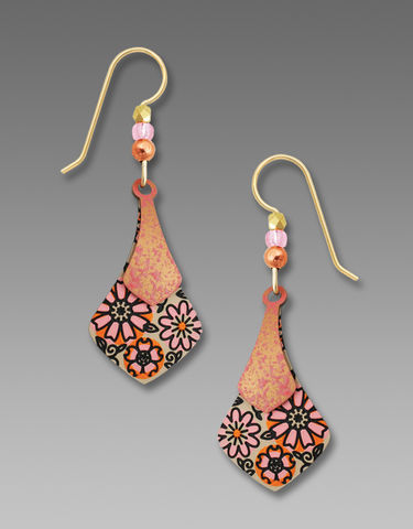 Adajio,Earrings,-,Two,Part,Soft,Rosy,Necktie,with,Retro,Floral,Design,Adajio 7726, Adajio Earrings, Adajio earrings Sienna Sky, Etched Brass Earrings, Artisan Handmade