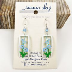 Sienna Sky Earrings - Forget-Me-Nots in Rectangle Frame - product images 2 of 4