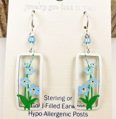 Sienna Sky Earrings - Forget-Me-Nots in Rectangle Frame - product images 3 of 4