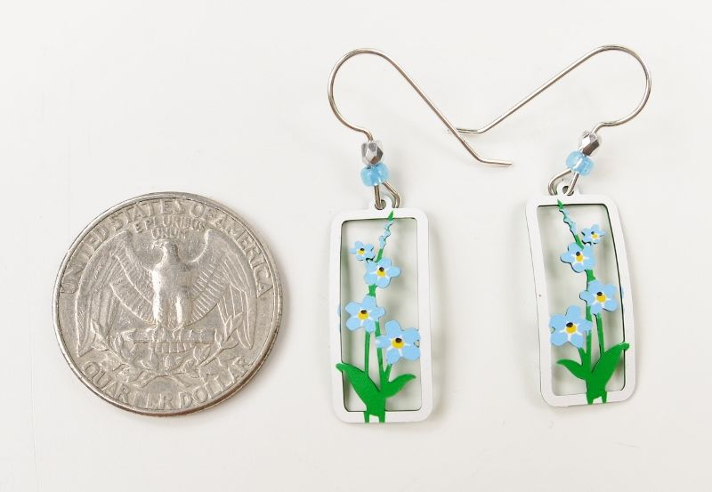 Sienna Sky Earrings - Forget-Me-Nots in Rectangle Frame - product image