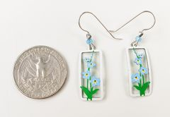 Sienna Sky Earrings - Forget-Me-Nots in Rectangle Frame - product images 4 of 4