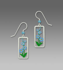 Sienna Sky Earrings - Forget-Me-Nots in Rectangle Frame - product images 1 of 4