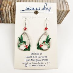Sienna Sky Earrings - Ruby-Throated Hummingbird with Flower - product images 2 of 5