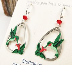Sienna Sky Earrings - Ruby-Throated Hummingbird with Flower - product images 4 of 5