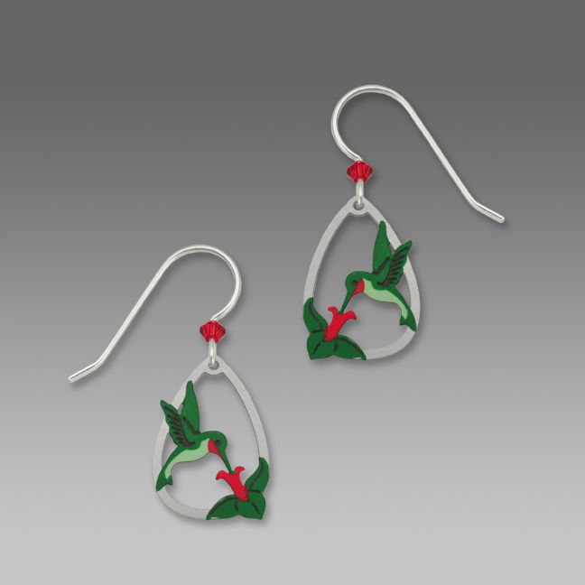 Sienna Sky Earrings - Ruby-Throated Hummingbird with Flower - product image