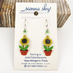 Sienna Sky Earrings - Sunflower in Pot - product images 2 of 4