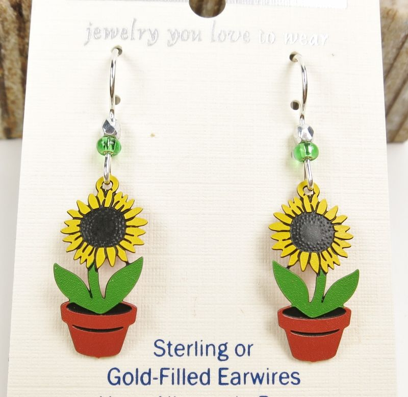 Sienna Sky Earrings - Sunflower in Pot - product image