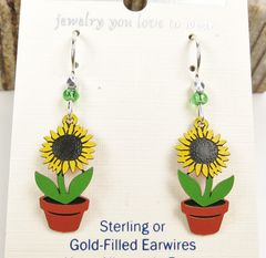 Sienna Sky Earrings - Sunflower in Pot - product images 3 of 4