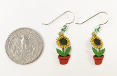 Sienna Sky Earrings - Sunflower in Pot - product images 4 of 4