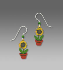 Sienna Sky Earrings - Sunflower in Pot - product images 1 of 4