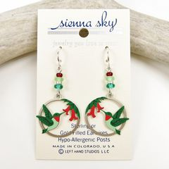 Sienna Sky Earrings - Hummingbird and Flowers in Disc - product images 2 of 4