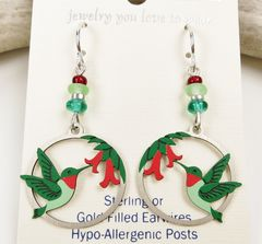 Sienna Sky Earrings - Hummingbird and Flowers in Disc - product images 3 of 4