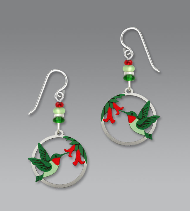Sienna Sky Earrings - Hummingbird and Flowers in Disc - product image