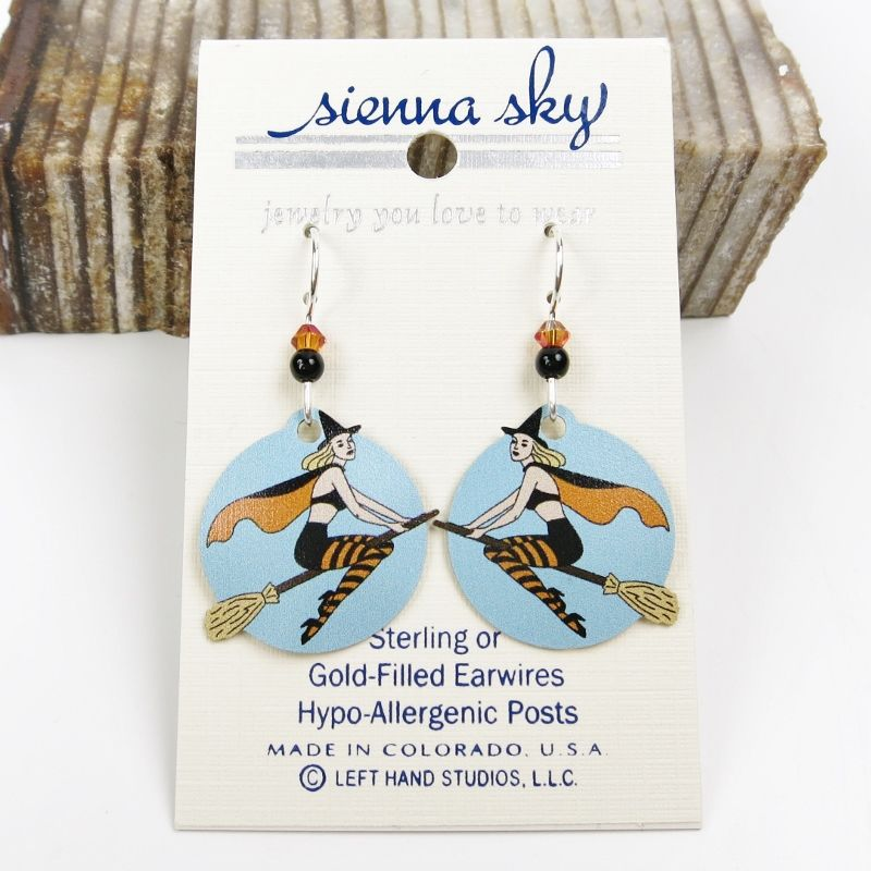 Sienna Sky Earrings - Witch on Broom - product image