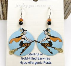 Sienna Sky Earrings - Witch on Broom - product images 3 of 4