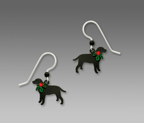 Sienna,Sky,Earrings,-,Black,Lab,With,Holly,on,Neck,Sienna Sky Earrings, Sienna Sky Jewelry, Sienna Sky Black Lab With Holly on Neck Earrings, Sienna Sky 1654