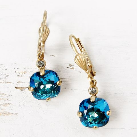 Catherine,Popesco,Small,Crystal,Earrings,in,Bermuda,Blue,Catherine Popesco Earrings, La Vie Parisienne Earrings, Catherine Popesco Jewelry, Catherine Popesco Paris