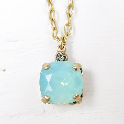 Catherine,Popesco,Small,Square,Crystal,Pendant,Necklace,in,Pacific,Opal,Catherine Popesco Small Square Crystal Pendant Necklace in Pacific Opal, La Vie Parisienne Necklace, Catherine Popesco Jewelry, Catherine Popesco Paris