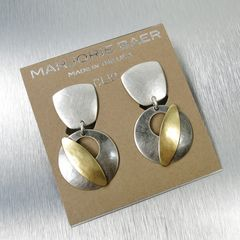 Marjorie Baer Tapered Square with Cutout Disc and Leaf Earrings - product images 7 of 8