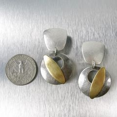 Marjorie Baer Tapered Square with Cutout Disc and Leaf Earrings - product images  of