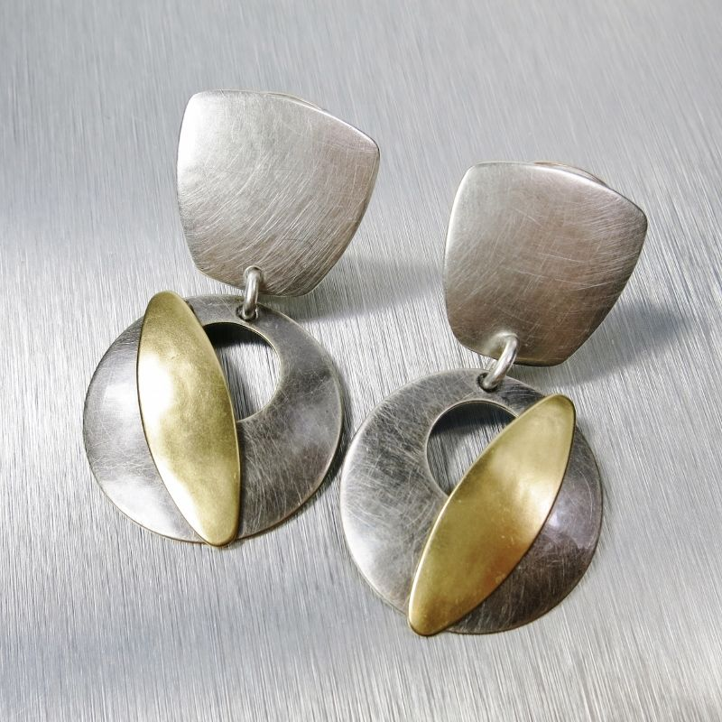Marjorie Baer Tapered Square with Cutout Disc and Leaf Earrings - product image
