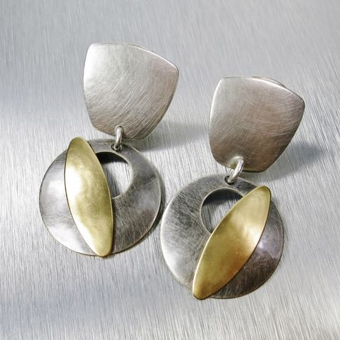 Marjorie,Baer,Tapered,Square,with,Cutout,Disc,and,Leaf,Earrings,Marjorie Baer clip post earrings, Marjorie Baer Tapered Square with Cutout Disc and Leaf Earrings
