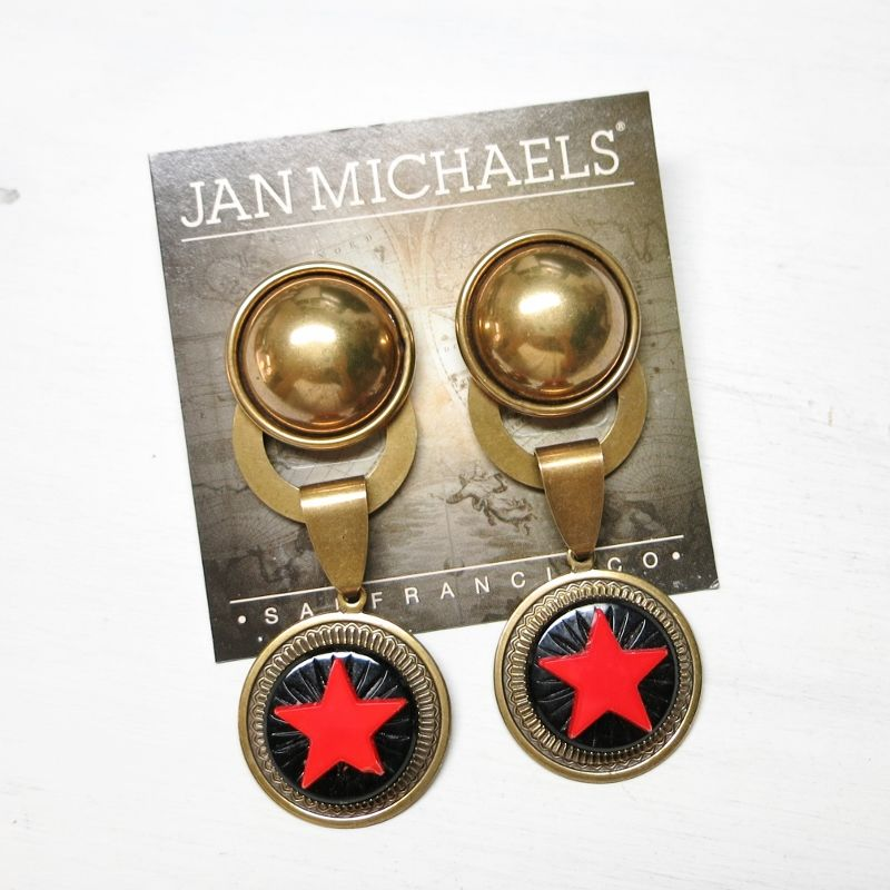 Jan Michaels Antique Red Glass Red Star Earrings - product image
