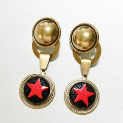 Jan Michaels Antique Red Glass Red Star Earrings - product images 1 of 6