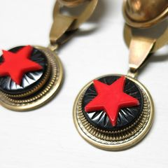 Jan Michaels Antique Red Glass Red Star Earrings - product images 3 of 6
