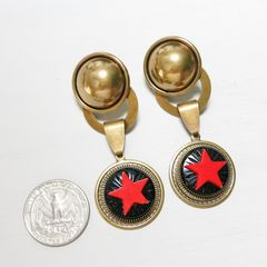 Jan Michaels Antique Red Glass Red Star Earrings - product images 2 of 6