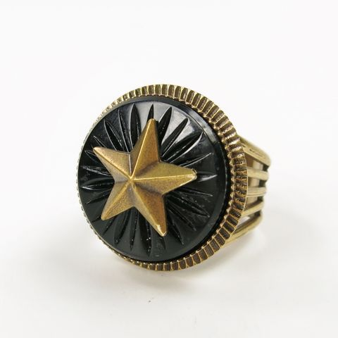 Jan,Michaels,Antique,Brass,Star,Emblem,Ring,Jan Michaels, Jan Michaels Jewelry, Jan Michaels ring, Jan Michaels Antique Brass Star Emblem Ring