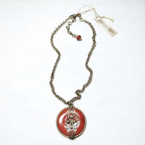 Jan,Michaels,Filigree,Moon,Light,Necklace,in,Red,Brecciated,Jasper,Jan Michaels Filigree Moon Light Necklace in Red Brecciated Jasper, Jan Michaels necklace, Jan Michaels Jewelry on sale